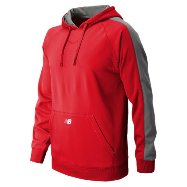 New Balance 8805 Men's Performance Fleece Baseball Hoodie - Team Red, Athletic Grey (TMUJ8805TRE)