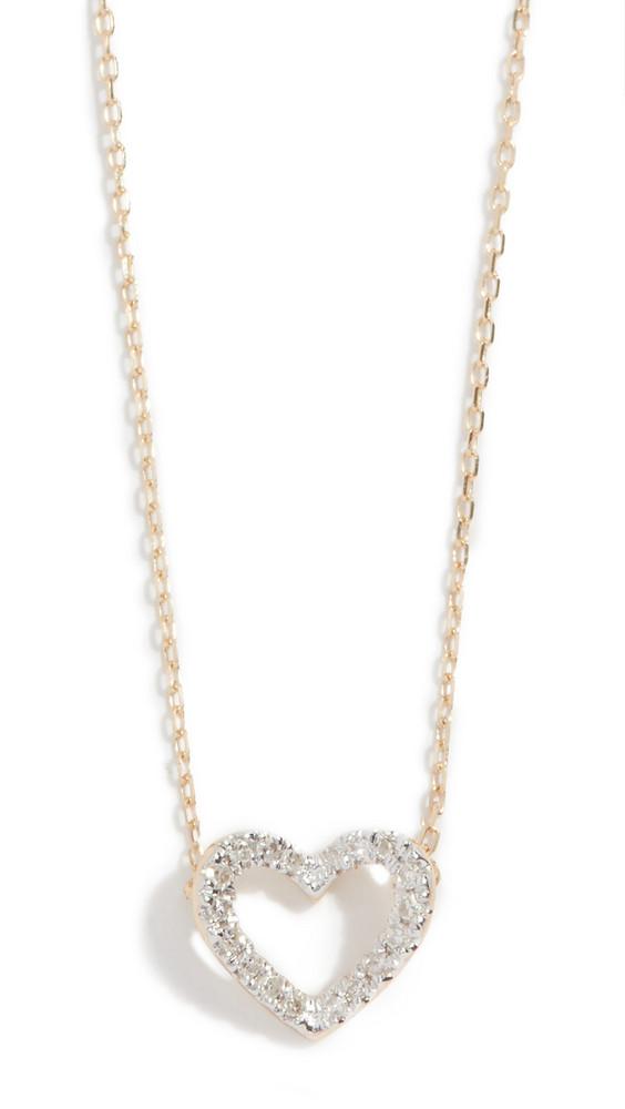 Adina Reyter 14k Tiny Pavé Open Folded Heart Necklace in gold / yellow