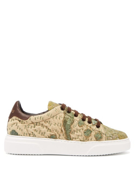 By Walid - 19th Century Tapestry Low Top Trainers - Womens - Khaki Multi