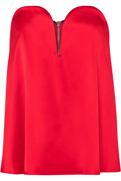 Michael Lo Sordo - Layered Silk-satin And Faille Bustier Top in red