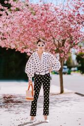 hallie daily,blogger,shoes,shirt,jeans,bag,sunglasses,polka dots,spring outfits