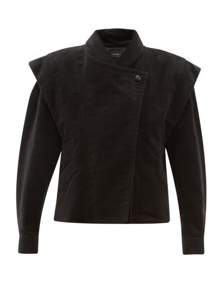 Isabel Marant - Dina Double Breasted Cotton Moleskin Jacket - Womens - Black