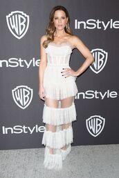 dress,kate beckinsale,celebrity,golden globes,red carpet dress,fringes,sandals,strapless,bustier dress,celebrity style