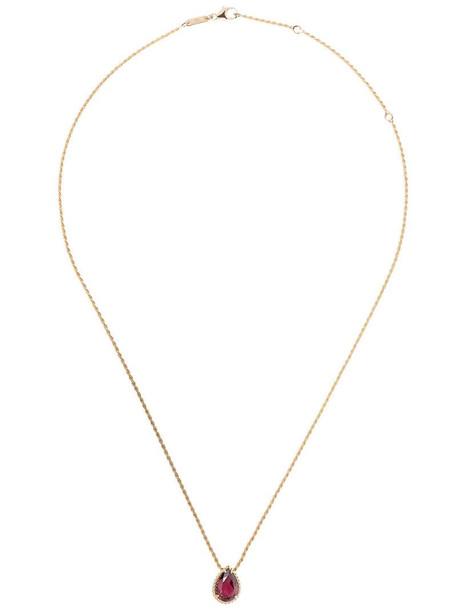 Boucheron 18kt rose gold Serpent Bohème rhodolite S motif teardrop pendant necklace