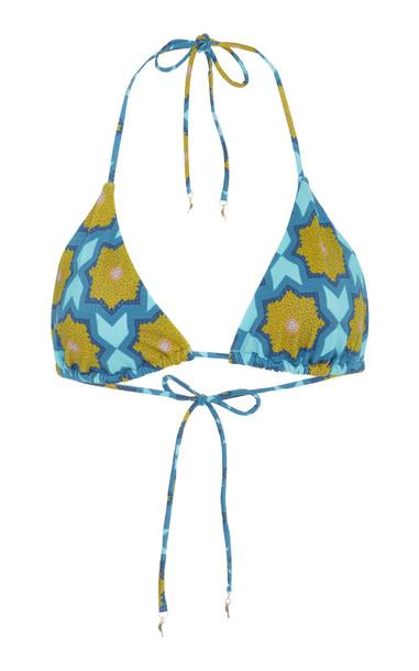 VERANDAH Anj Printed Bikini Top in blue