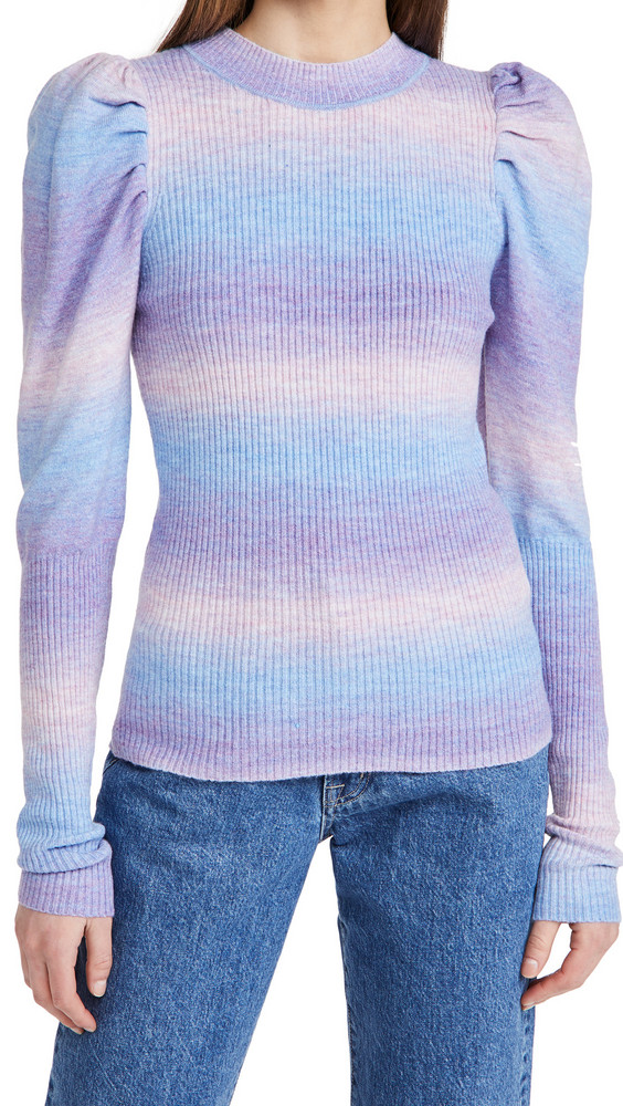 En Saison Puff Sleeve Sweater Top in multi