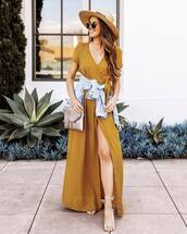 shoes,high heel sandals,slit dress,maxi dress,wrap dress,denim jacket,shoulder bag,hat