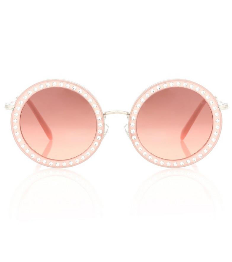 Miu Miu Round acetate sunglasses in pink