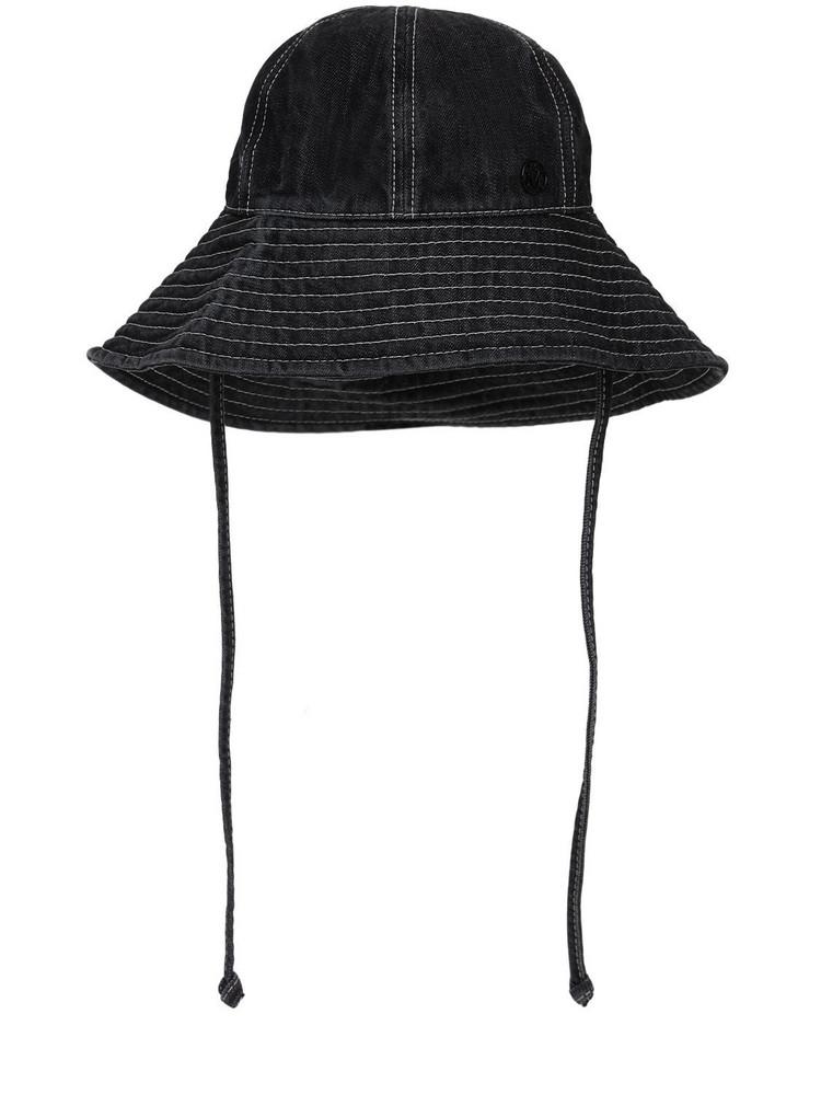 MAISON MICHEL Julianne Cotton Denim Hat in black