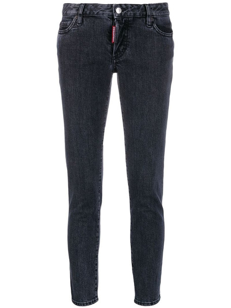 Dsquared2 faded skinny cropped jeans in grey