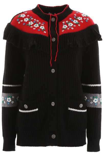 Miu Miu Embroidered Cardigan in black