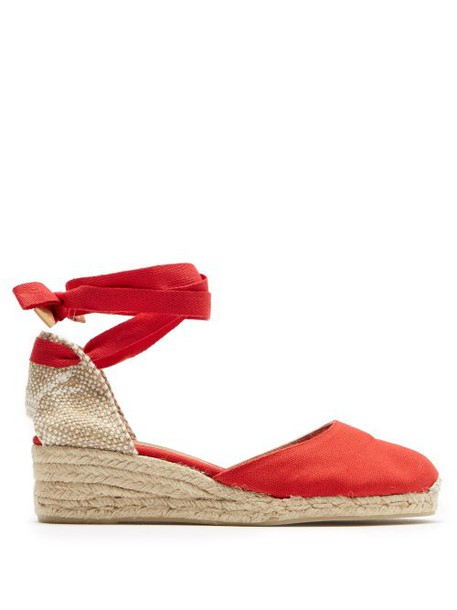 Castañer - Carina 30 Canvas & Jute Espadrille Wedges - Womens - Red