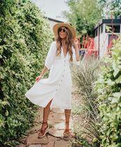 dress,white dress,midi dress,short sleeve dress,v neck dress,platform sandals,hat
