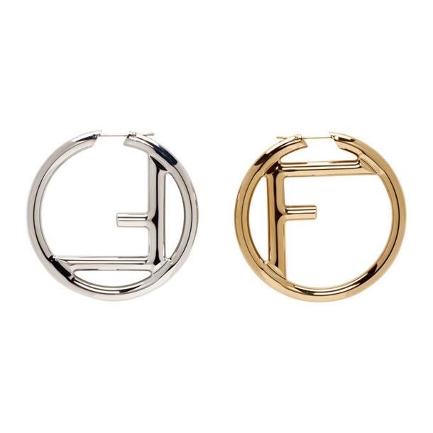 Fendi Gold & Silver 'F is Fendi' Earrings