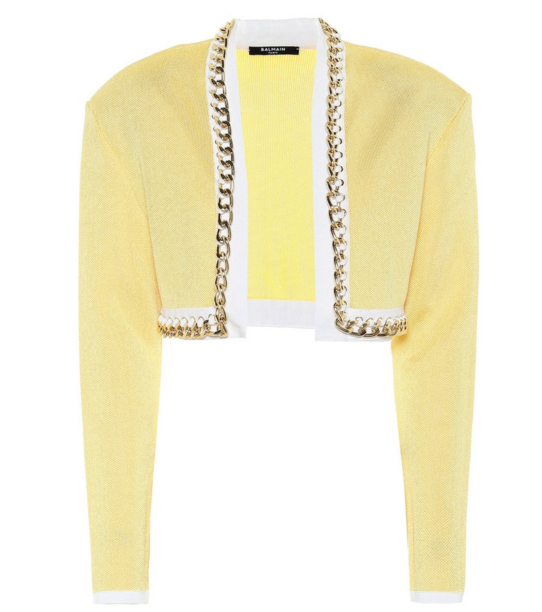 Balmain Exclusive to Mytheresa – Chain-link cropped knit jacket in yellow