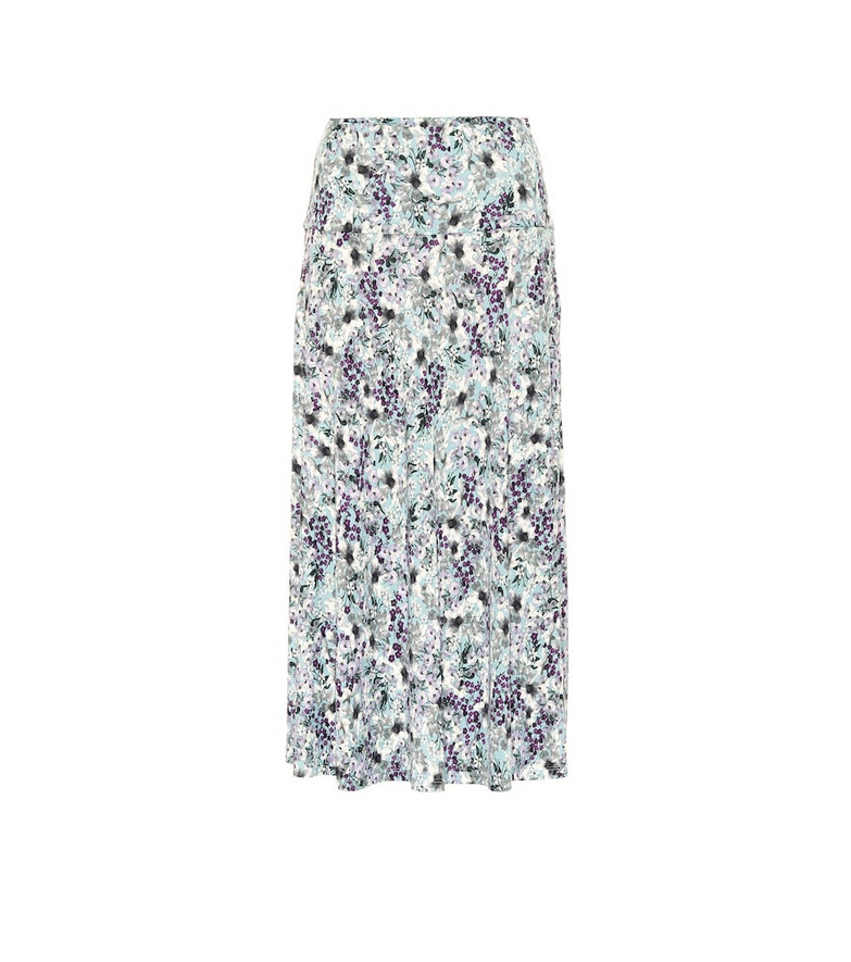 Erdem Elvin floral jersey midi skirt in blue