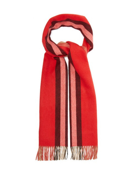 Burberry - Reversible Icon Striped Cashmere Scarf - Womens - Red