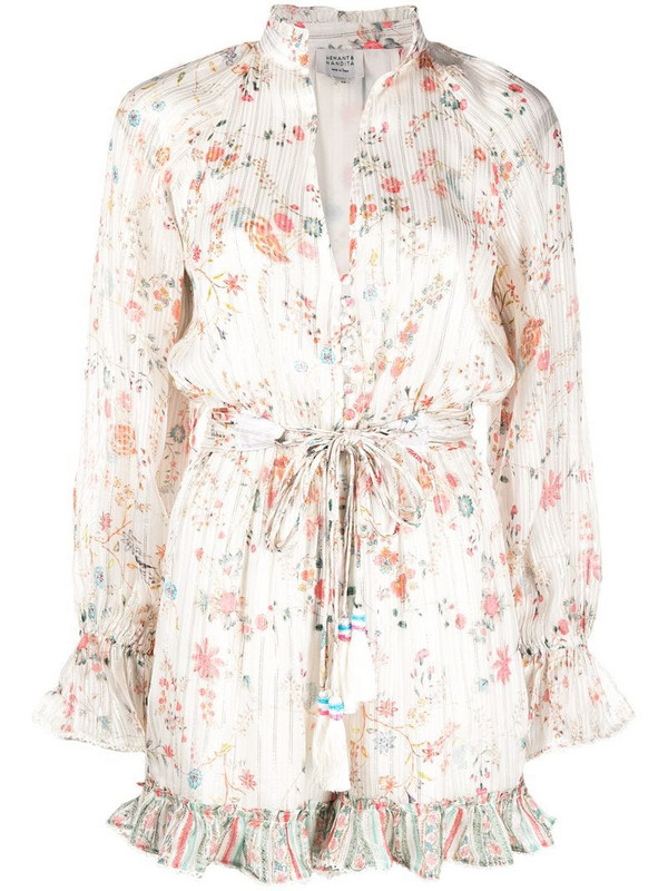 Hemant And Nandita flora-print playsuit in white