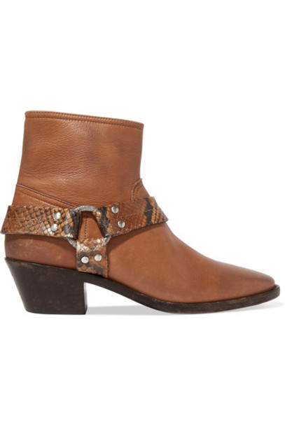 Golden Goose - Bretagne Distressed Leather And Snake-effect Ankle Boots - Tan