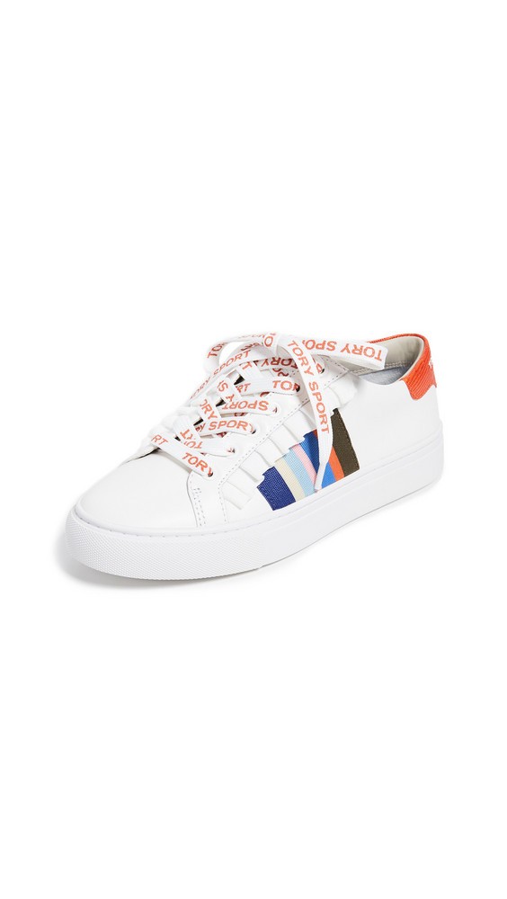 Tory Sport Ruffle Sneakers in white