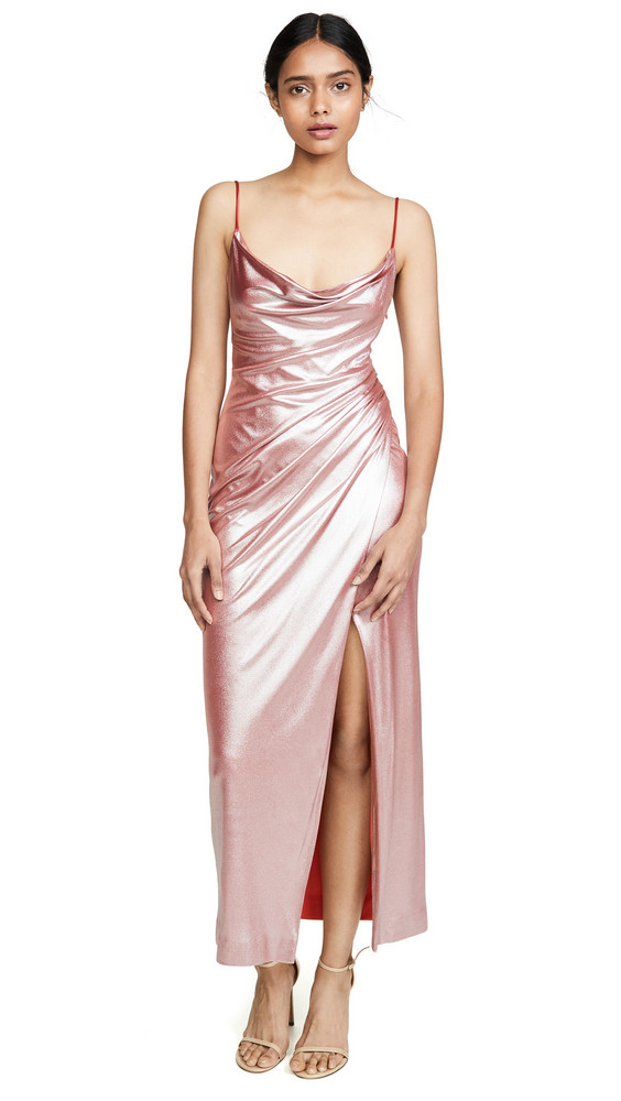 Galvan London Mars Dress in metallic / pink