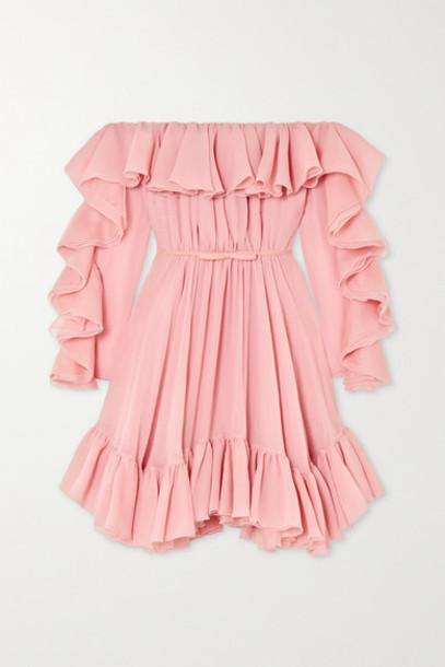 Giambattista Valli - Off-the-shoulder Ruffled Silk-georgette Dress - Pink