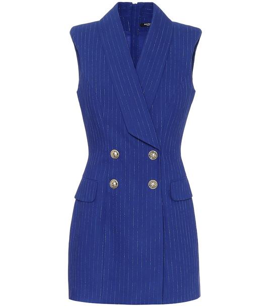 Balmain Striped metallic minidress in blue