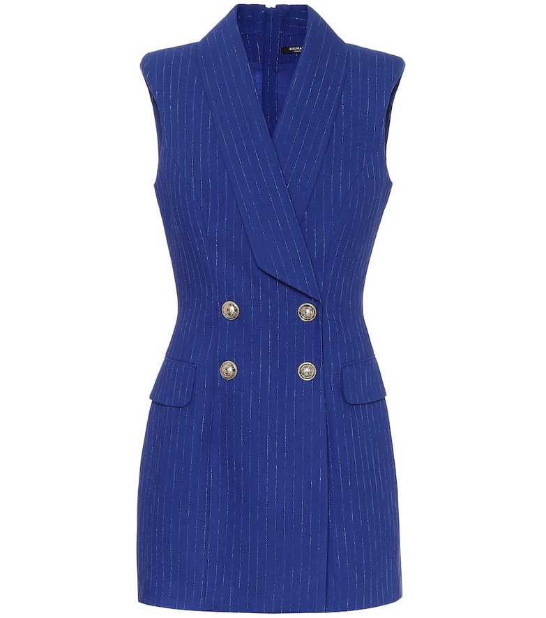 Balmain Striped metallic minidress in blue