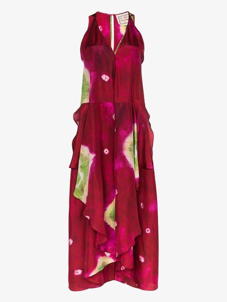 By Walid Janice tie-dye silk maxi dress in pink