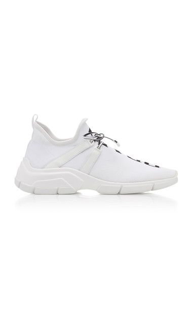 Prada Leather-Trimmed Logo-Intarsia Stretch-Knit Sneakers in white