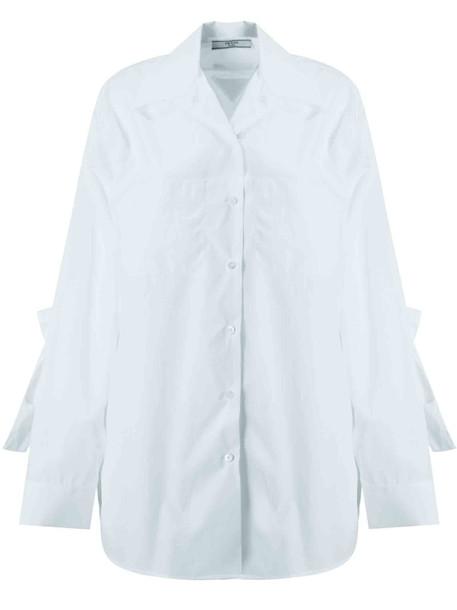 Prada Tie Detail Cotton Shirt in bianco