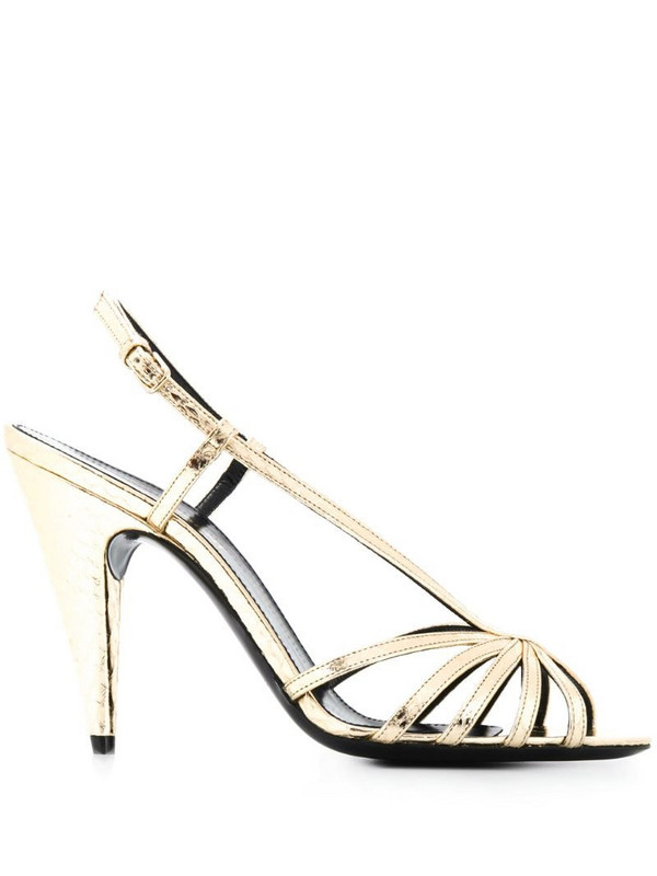 Saint Laurent strappy slingback sandals in gold