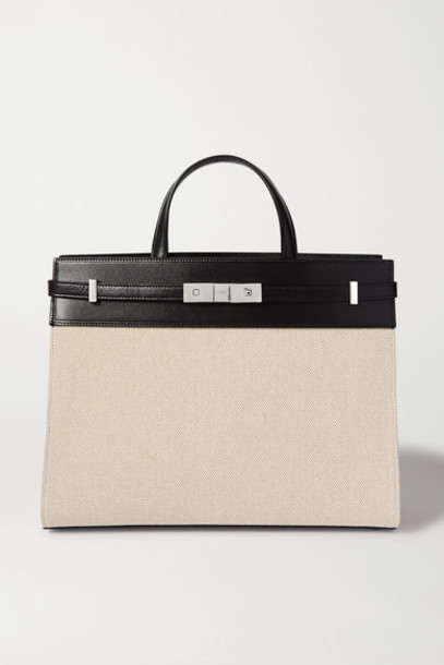 SAINT LAURENT - Manhattan Small Leather-trimmed Canvas Tote - Neutral