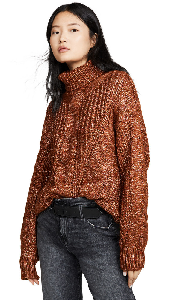 J.O.A. J.O.A. Cable Turtleneck Sweater in brown / multi