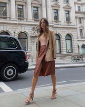 skirt,wrap skirt,h&m,sandals,leather,blazer,top