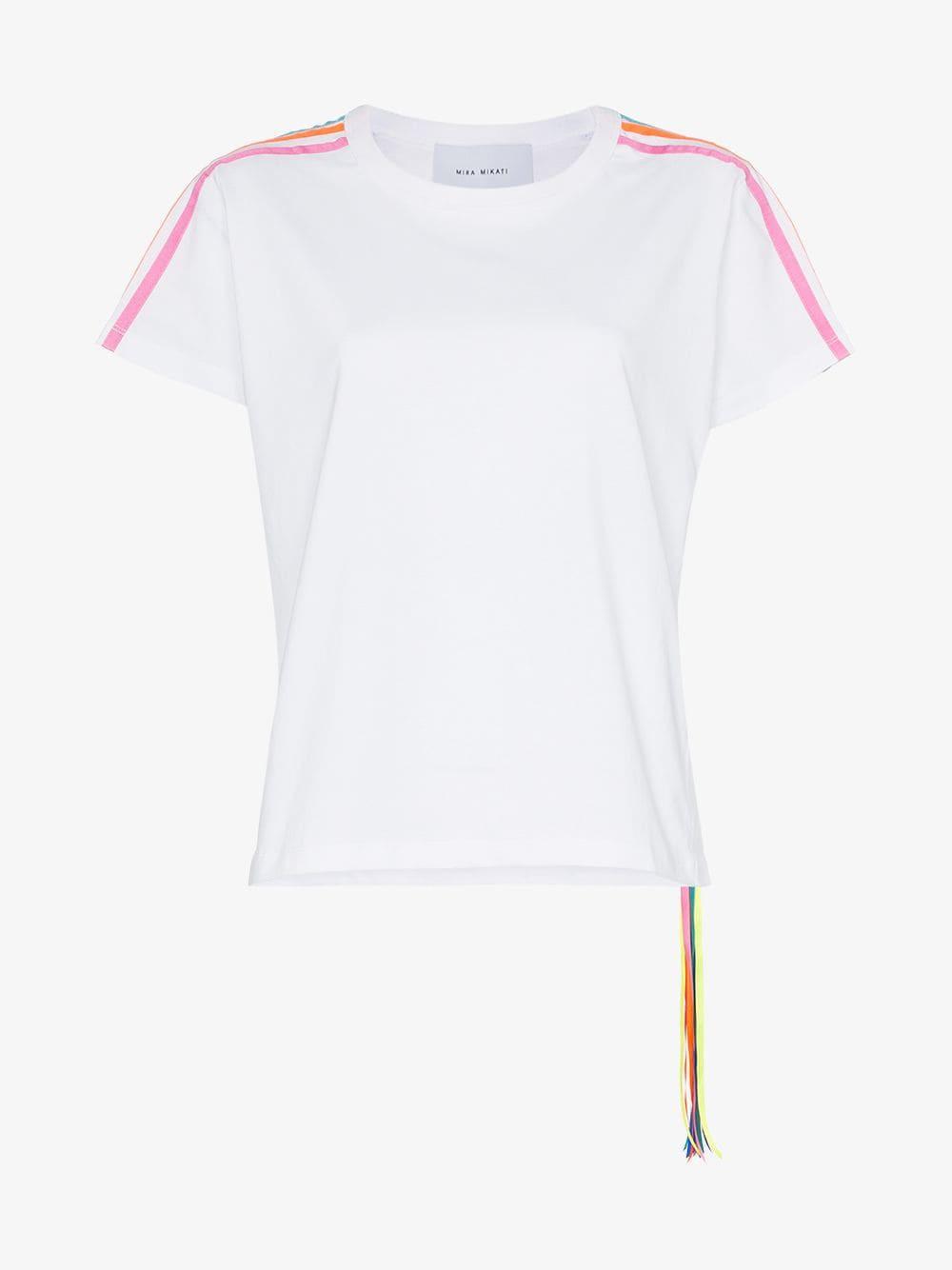 Mira Mikati multicoloured racing stripes T-shirt in white