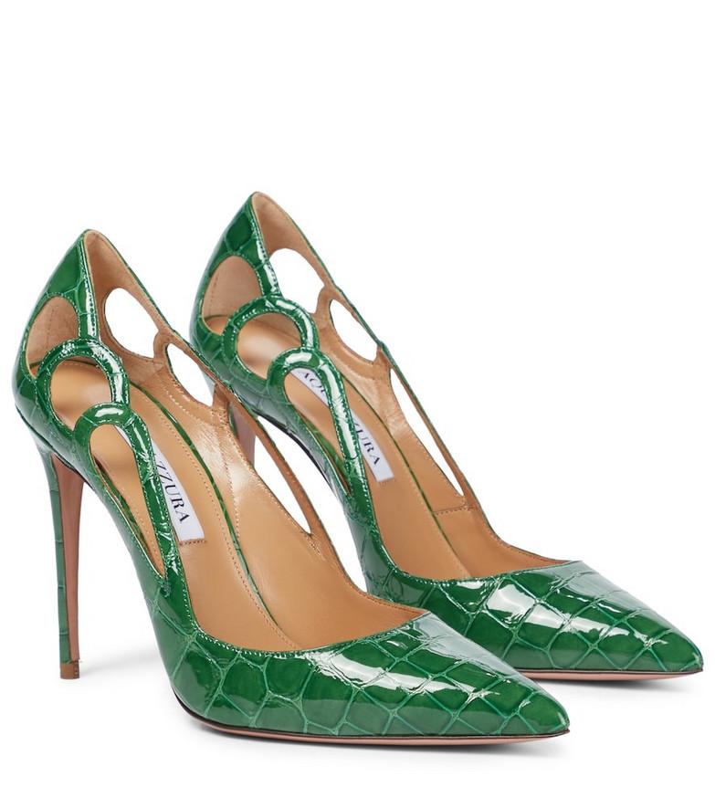 Aquazzura Fenix 105 leather pumps in green