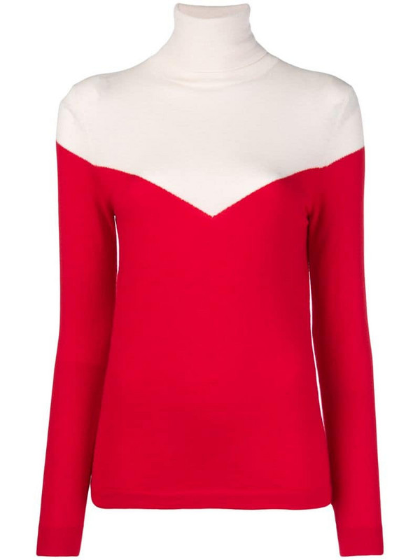 Cashmere In Love two-tone roll neck jumper in red
