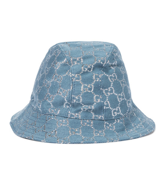Gucci GG lamé bucket hat in blue