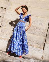 skirt,maxi skirt,ruffle,blue skirt,crop tops,set,sandals
