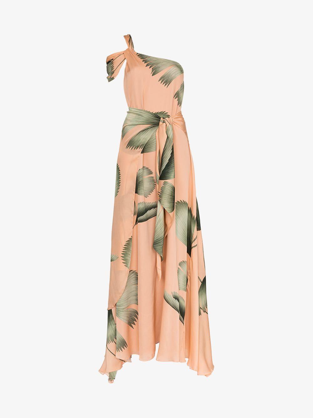Johanna Ortiz St Barthelemy One Shoulder Tie Waist Dress in pink