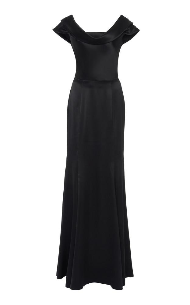 Dolce & Gabbana Silk-Blend Satin Gown Size: 38 in black