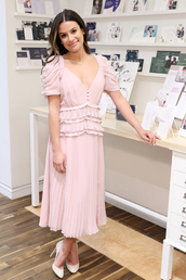 dress,lea michele,celebrity,midi dress,spring outfits,spring dress,light pink
