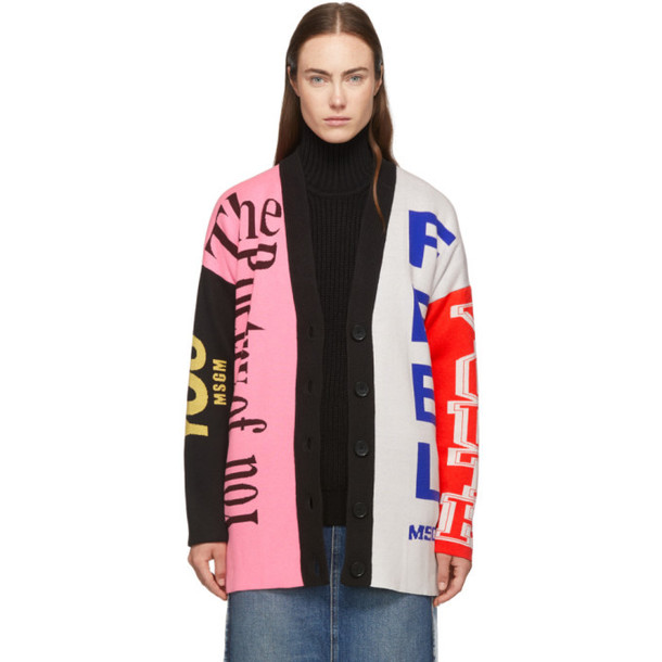 MSGM Multicolor Knit Logo Cardigan in multi