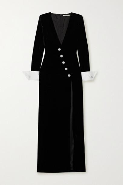 Alessandra Rich - Crystal-embellished Silk Satin-trimmed Velvet Gown - Black