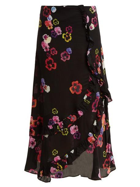 Preen Line - Hattie Pansy Print Crepe Skirt - Womens - Black Multi
