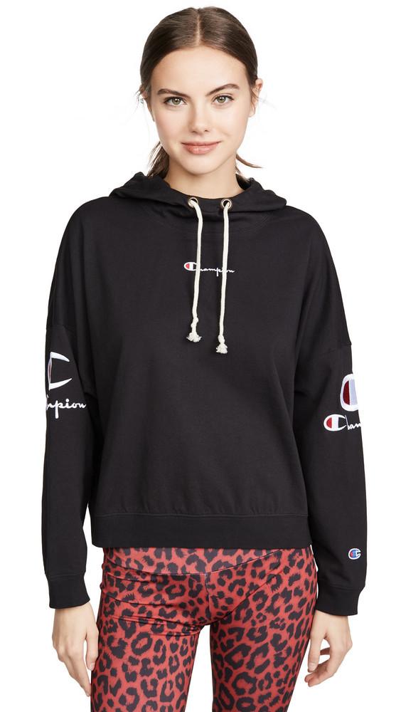 Champion Premium Reverse Weave Sleeve Logo Hooded Top in black