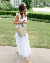 dress,white dress,maxi dress,sleeveless dress,mules,woven bag