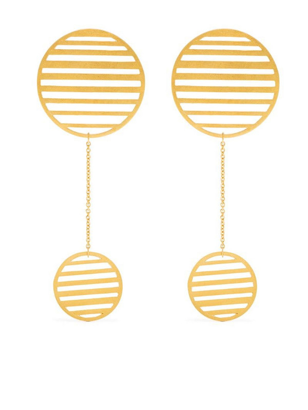Hsu Jewellery Flowing double-circle earrings in gold