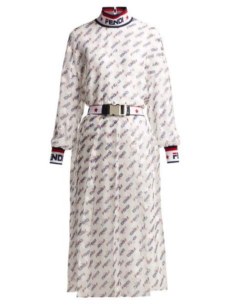 Fendi - Mania Logo Print Silk Blend Georgette Dress - Womens - White Multi